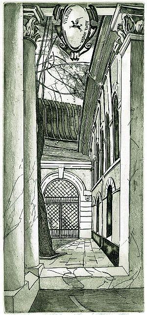 Universiteto vartai, A. Ramonas 1989. Ofortas.